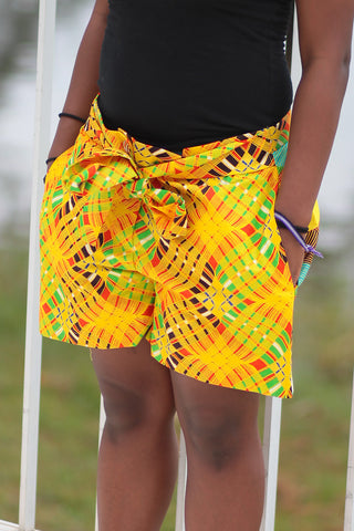 African Print/Kitenge  Beach Shorts-Duo Prints(Yellow/Green Print)