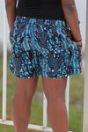 African Print/Kitenge  Beach Shorts-Duo Prints( Blue/Orange Floral Print) - Africas Closet