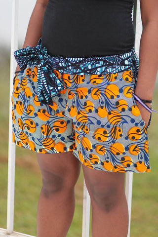 African Print/Kitenge  Beach Shorts-Duo Prints( Blue/Orange Floral Print)