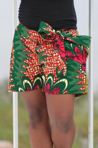 African Print/Kitenge  Beach Shorts-Green/Pink Double Sided Shorts Flowers