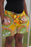 African Print/Kitenge  Beach Shorts-Duo Print(Yellow/Green/Brown Concentric Print) - Africas Closet