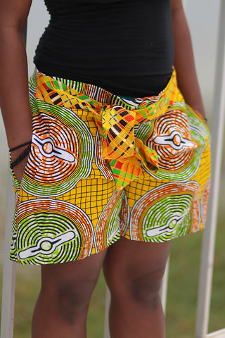 African Print/Kitenge  Beach Shorts-Duo Print(Yellow/Green/Brown Concentric Print)