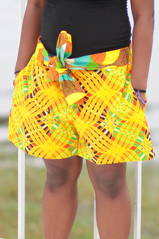 African Print/Kitenge  Beach Shorts-Yellow/Brown Geometric Print