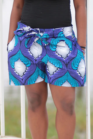 African Print/Kitenge  Beach Shorts-  Blue & Purple Wave Print.