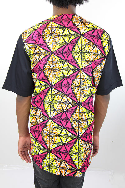 African Print Mens Shirt -  Pink/Yellow/Black GeometricPrint - Africas Closet