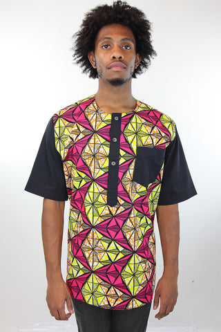African Print Mens Shirt -  Pink/Yellow/Black GeometricPrint