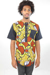 African Print Mens Shirt-Yellow and Orange Waves Print - Africas Closet