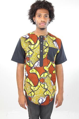 African Print Mens Shirt-Yellow and Orange Waves Print