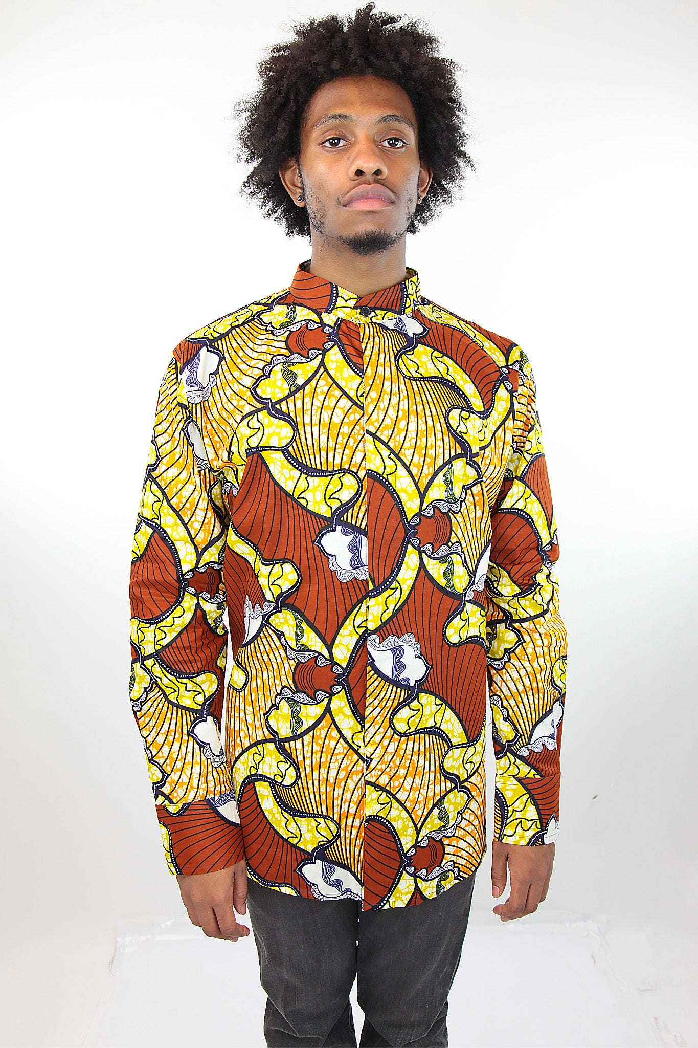 African Print Mens Shirt Button-Up Shirt Orange and Yellow Waves - Africas Closet