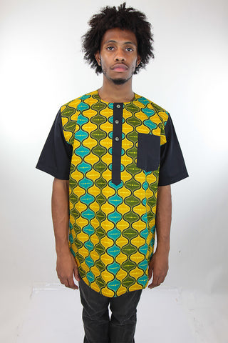 African Print Mens Shirt Yellow Green and Blue Shirt