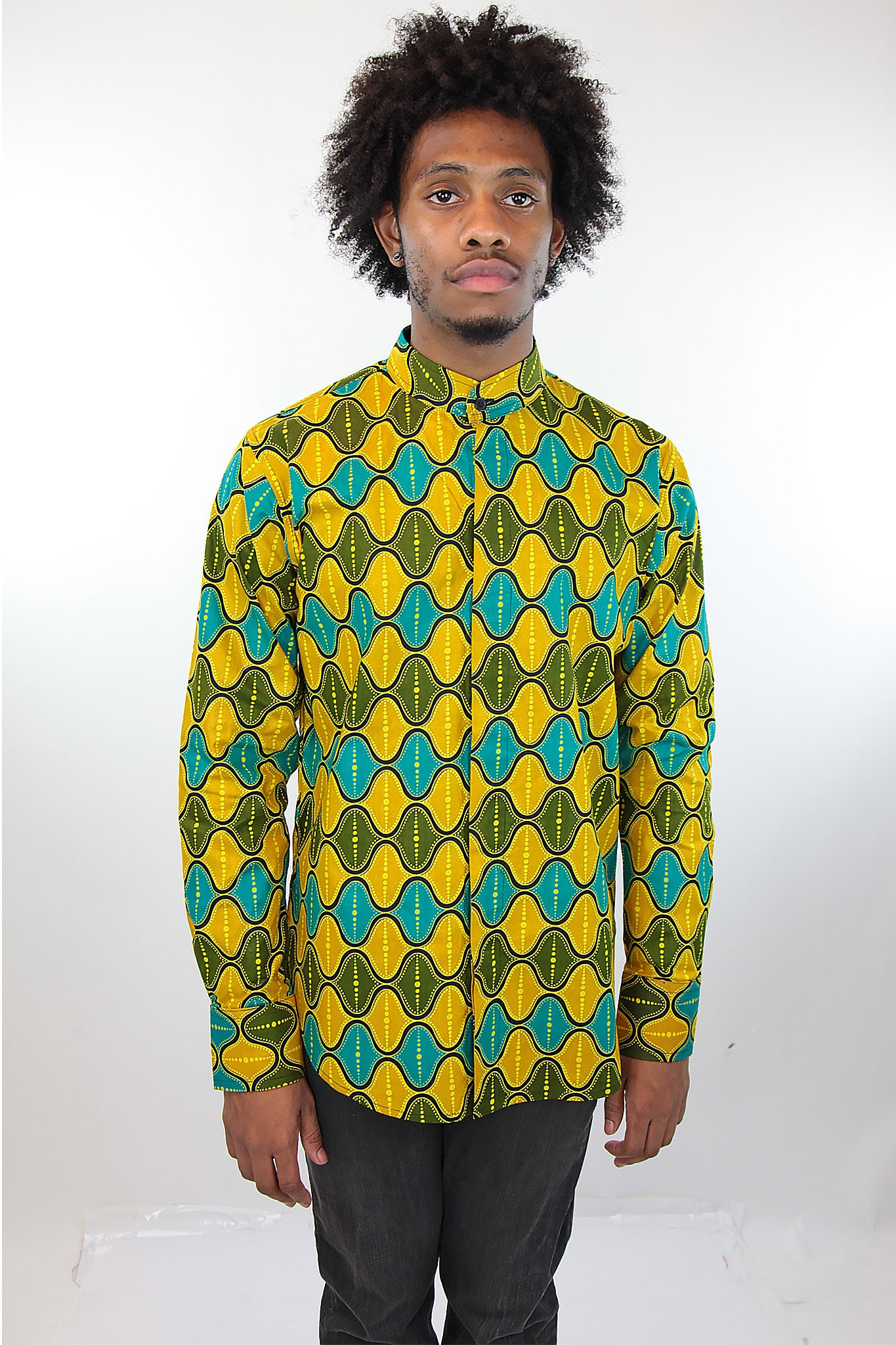 African Print Mens Shirt Button-Up Yellow Green and Blue Shirt - Africas Closet
