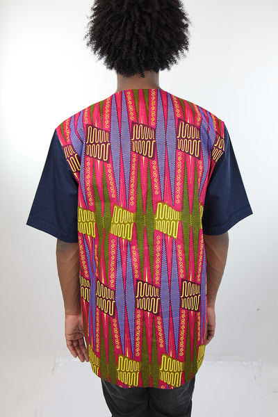 African Print Mens Shirt-Geometric Shirt Pink and Green Print - Africas Closet