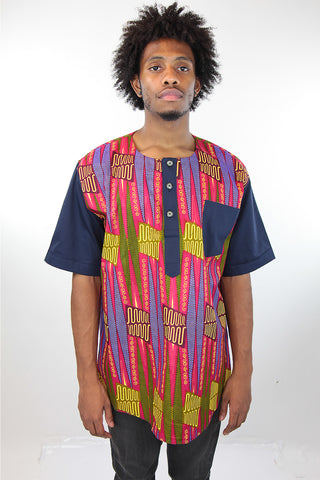African Print Mens Shirt-Geometric Shirt Pink and Green Print