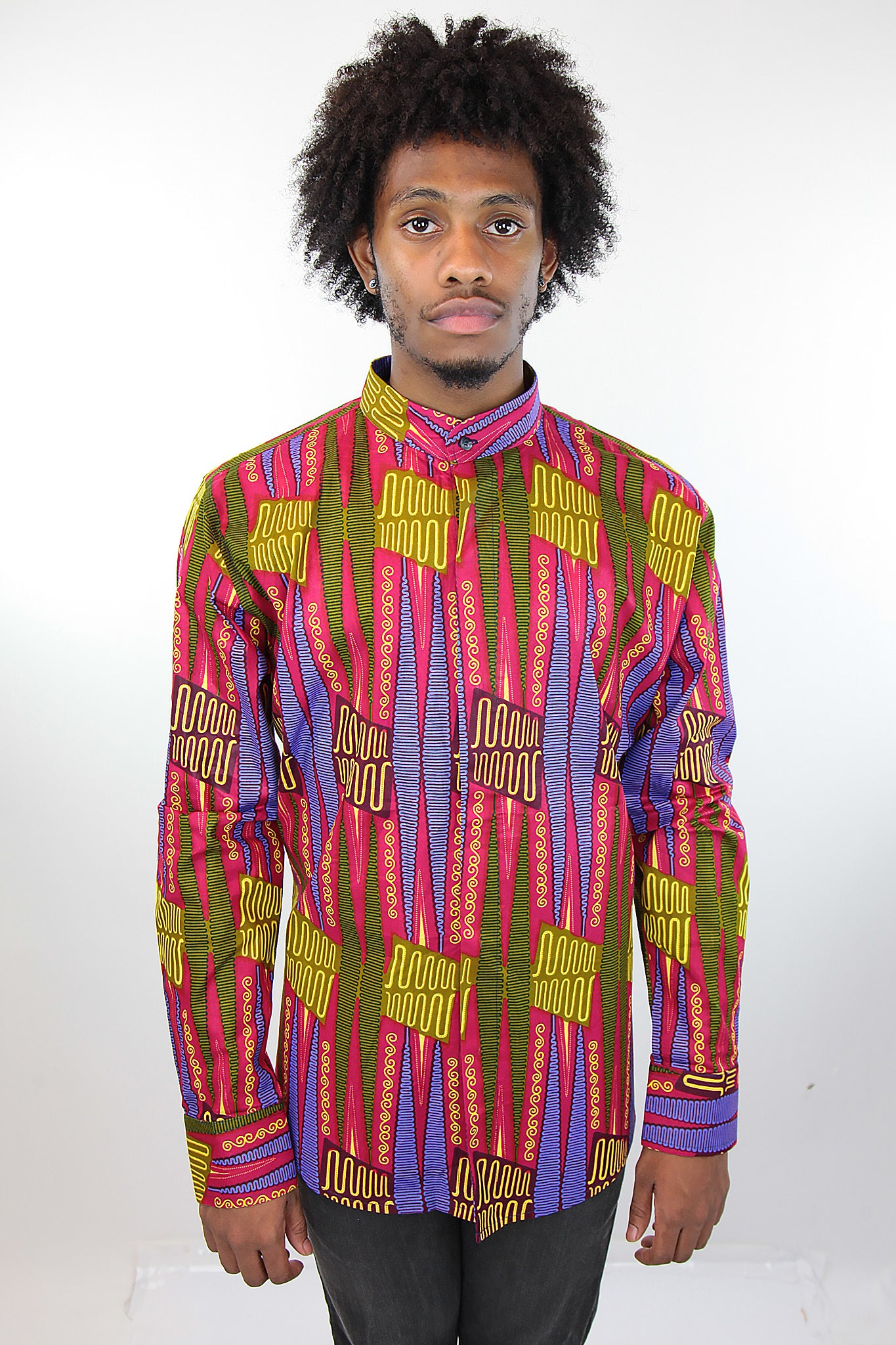 African Print Mens Shirt Button-Up Geometric Shirt Pink and Green - Africas Closet