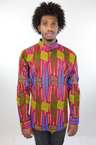 African Print Mens Shirt Button-Up Geometric Shirt Pink and Green