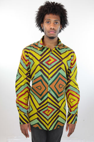 African Print Mens Shirt Button-Up Geometric Shirt Squares