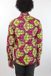 African Print Mens Shirt Button-Up Triangle Shirt Pink and Yellow - Africas Closet