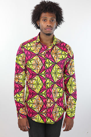 African Print Mens Shirt Button-Up Triangle Shirt Pink and Yellow