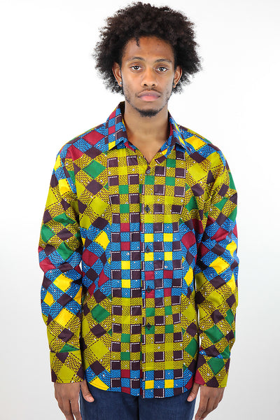 African Print Mens Shirt Button-Up Multicolor Checkered - Africas Closet