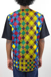 African Print Mens Shirt T-Shirt Multicolor Checkered - Africas Closet