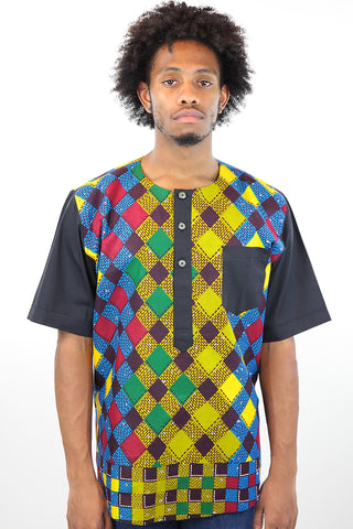 African Print Mens Shirt T-Shirt Multicolor Checkered