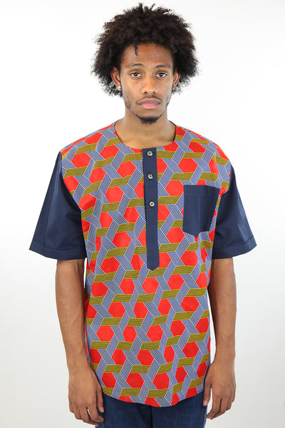 African Print Mens Shirt-Red/Navy Blue Geometric Print - Africas Closet