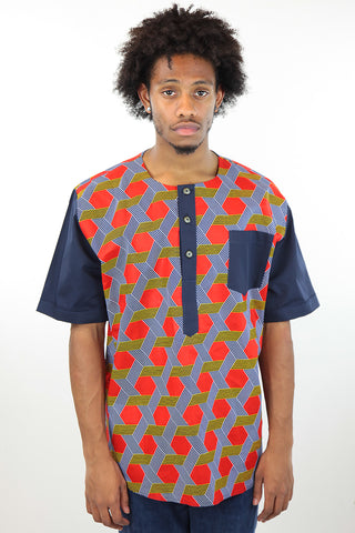 African Print Mens Shirt-Red/Navy Blue Geometric Print