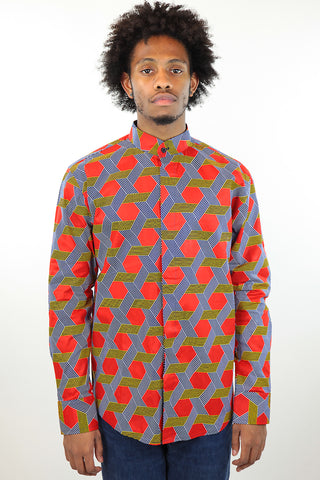 African Print Mens Shirt -Button-Up Hexagons Print