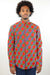 African Print Mens Shirt -Button-Up Hexagons Print - Africas Closet