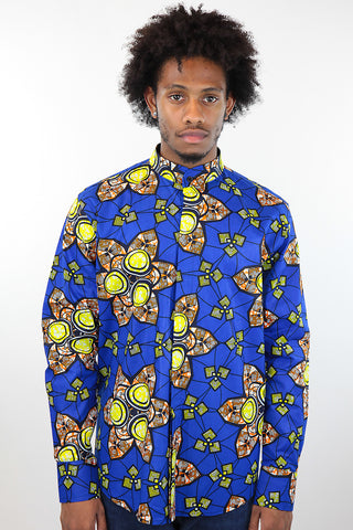 African Print Mens Shirt Button-Up Geometric Flower Print