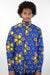 African Print Mens Shirt Button-Up Geometric Flower Print - Africas Closet