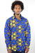 African Print Mens Shirt Button-Up Royal Geometric Floral Print - Africas Closet