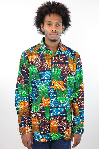 African Print Mens Shirt Button-Up Geometric Jellyfish