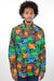 African Print Mens Shirt Button-Up Geometric Jellyfish - Africas Closet
