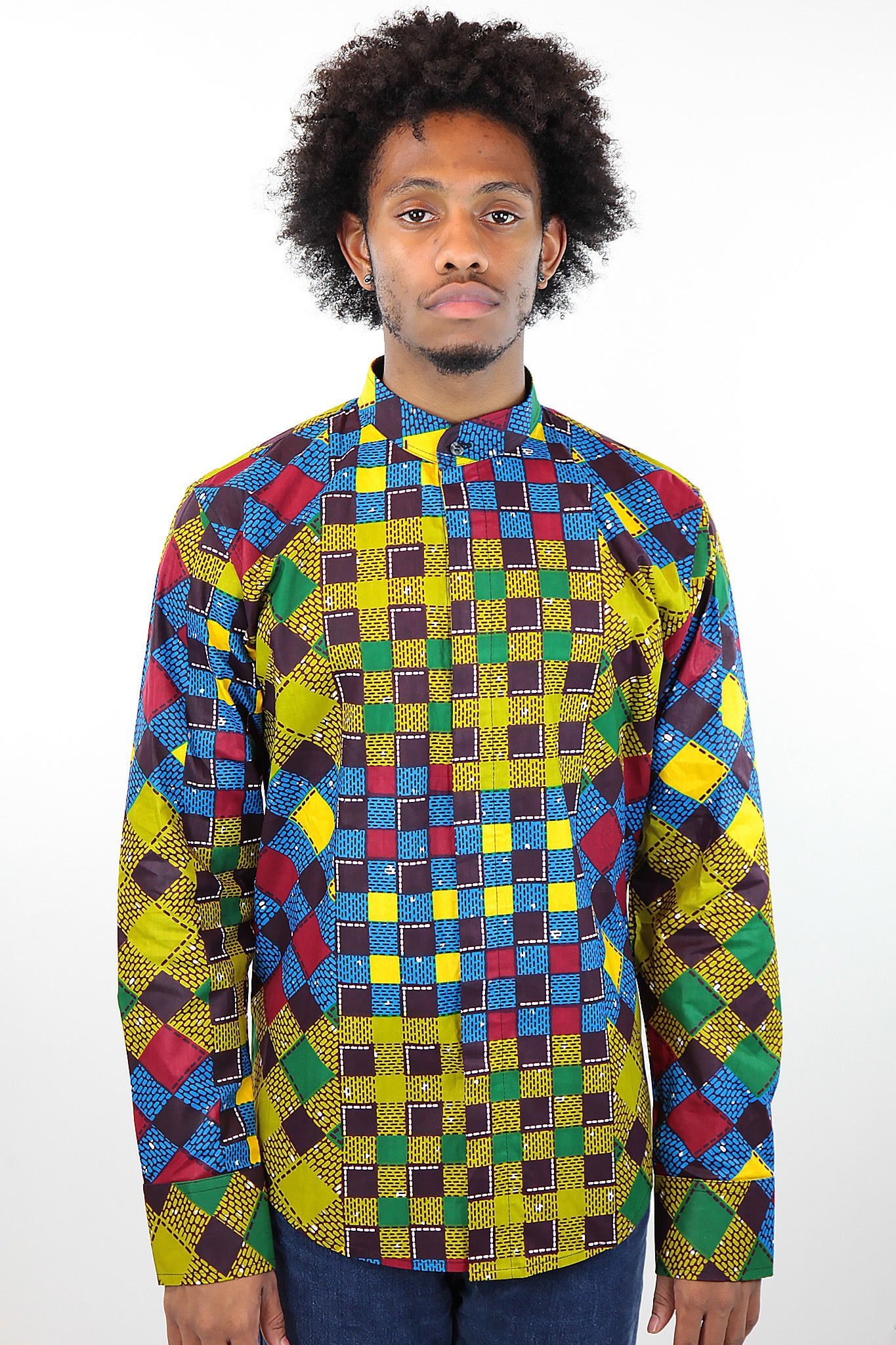African Print Mens Shirt Button-Up  Blue/Jungle Multicolored Checkered - Africas Closet