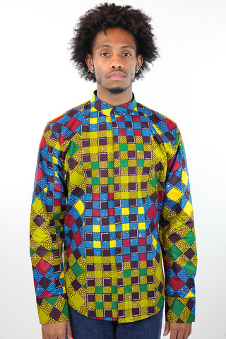 African Print Mens Shirt Button-Up  Blue/Jungle Multicolored Checkered