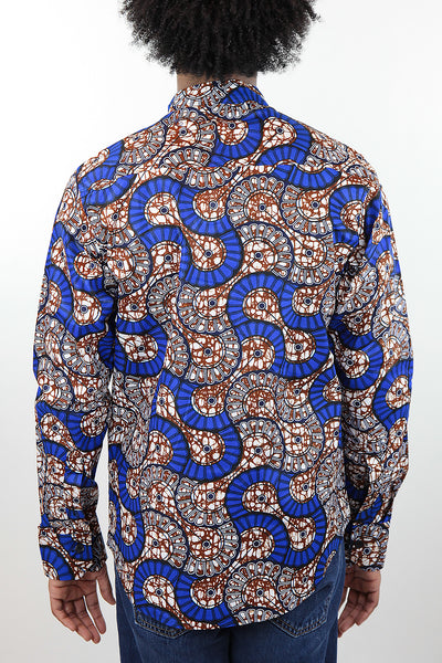 African Print Mens Shirt Button-Up Geometric Seashell - Africas Closet