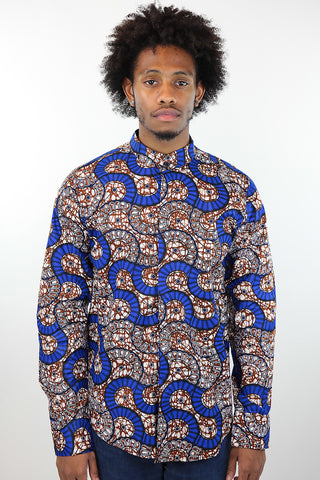 African Print Mens Shirt Button-Up Geometric Seashell