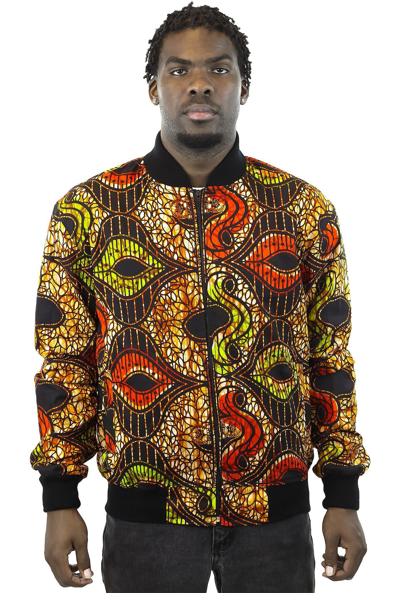 African Bomber Jacket - Green Red Gold Brown Abstract Curves - Africas Closet