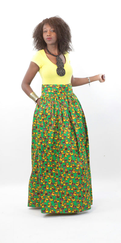African Maxi Skirt - Vine Floral Yellow and Green - Africas Closet