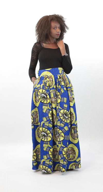 African Maxi Skirt - Floral Blue and Yellow - Africas Closet