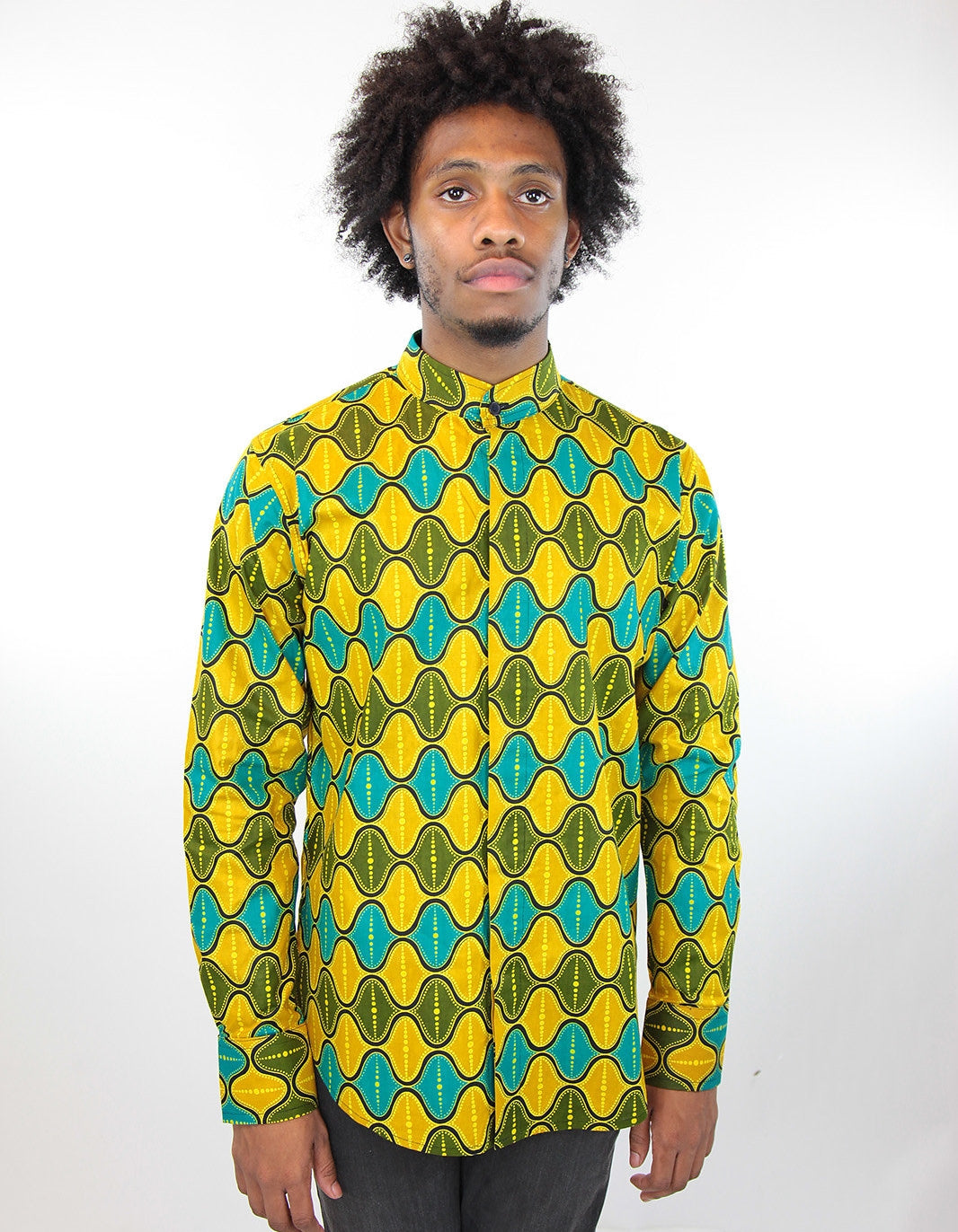 African Print Mens Shirt-Jungle Green/Teal Geo Print - Africas Closet