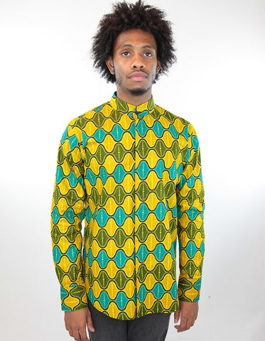 African Print Mens Shirt-Jungle Green/Teal Geo Print