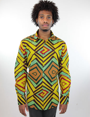African Print Mens Shirt-Jungle Green Geometric Print