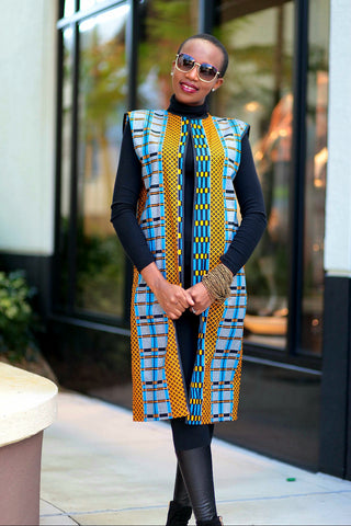 African Print Sleeveless Longline Shrug -Royal Blue Kente