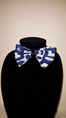 African Clip On Bow Tie-Blue Tribal Print