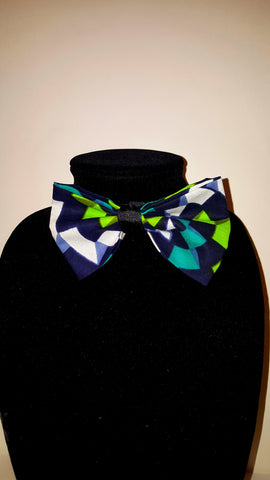 African Clip On Bow Tie-Teal Green