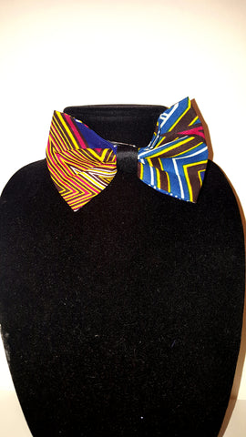 African Clip On Bow Tie-Blue/Yellow