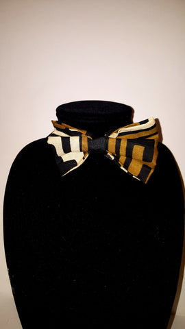 African Clip On Bow Tie-Golden BrownTribal Print