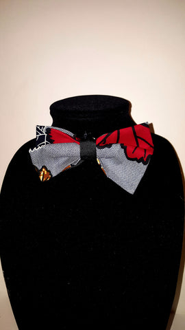 African Clip On Bow Tie-Red/Grey